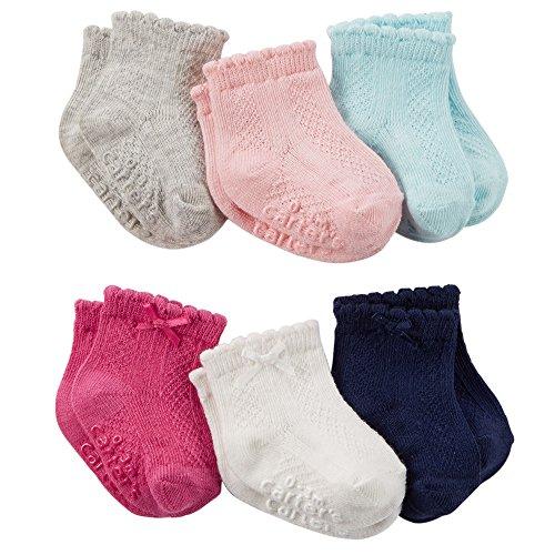 Carter's Baby-Girls Newborn Pointelle Socks, Multi, 12-24/Medium Months (Pack of 6)