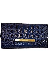 Brahmin Fashion Wallet Navy Melbourne Emb Leather Ck Book Clutch