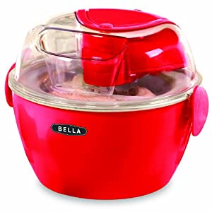 BELLA 13716 Ice Cream Maker, 1-Liter, Red