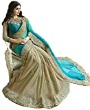 #4: Sarees for Women Latest design Party Wear Today Offer sale buy in Low Price Sale Turquoise & Beige Color Georgette Lycra Fabric Free Size Ladies Sari