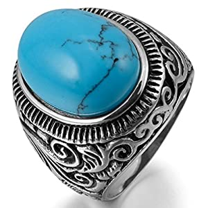 JBlue Jewelry Men's 316L Stainless Steel Ring Turquoise Silver Blue Biker Unique (with Gift Bag) from JBlue Jewelry
