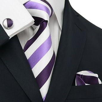 Men's Stripes Purple And White Pure Silk Tie Set TheDapperTie 25V