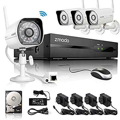 Zmodo 4CH NVR 4 Wireless WiFi IP Network 720p HD Day Night IR-CUT Outdoor Indoor CCTV Surveillance Video Security Camera System 1TB Hard Drive Scan QR Code Easy Remote Access in Seconds Motion Detection 3-Year Warranty