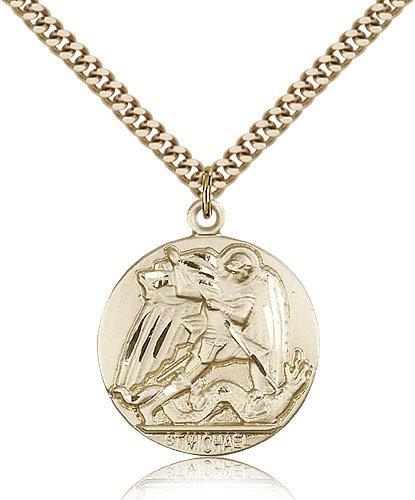 Gold Filled St. Saint Michael the Archangel the Archangel Medal Pendant 1 x 7/8