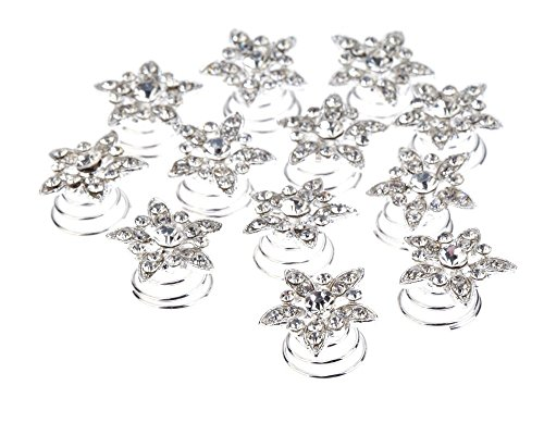 Splendid Set Kit of Weddings / Proms / Balls Hair Decorations With 12pcs Silver Colored Spirals / Twists / Twisted Pins / Clips / Curlies In Flowers Shapes Studded With Clear Rhinestones / Crystals / Gemstones By VAGA®
