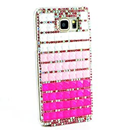Samsung Galaxy Note 5 Case, Sense-TE Glamour Crystal [3D Handmade] [Sparkle Glitter] Diamond Rhinestone Clear Cover with Retro Bowknot Anti Dust Plug - Hot Pink&Pink&White