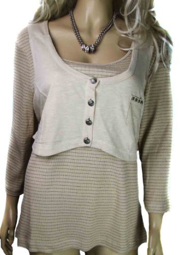 Ladies Plus size striped Long Sleeved top in beige cream and gold with attached waistcoat in womens size 18 - 24
