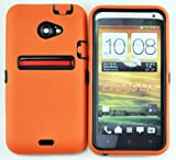 LiViTech(TM) Double Layer Hard Ultra Slim case for HTC EVO 4G LTE SPRINT 2012 Model (Orange Black)