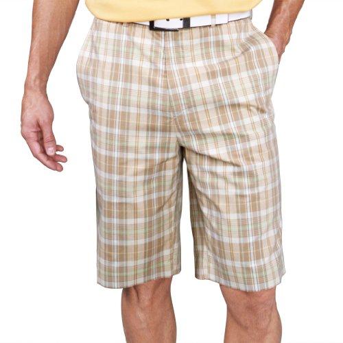 Monterey Club Mens Plaid Madras Shorts #1847 (Dark Taupe/Light Khaki, Size:42)