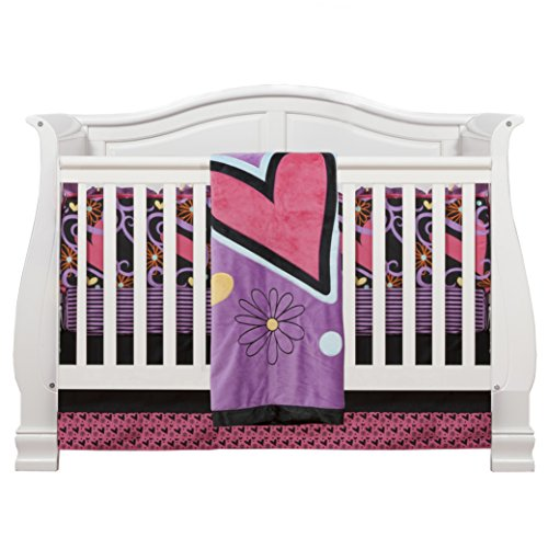 One Grace Place Sassy Shaylee Infant Crib Bedding Set, Black/Pink/Purple, 4 Piece