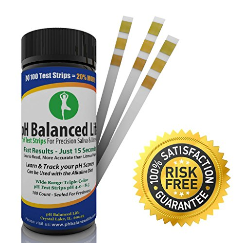 Top Rated pH Test Strips for Urine & Saliva Testing – 1 Free Alkaline Diet eBook – 2 Free pH Tracking Sheets – 100 Ct. Premium Strips – 100% Guaranteed – Complete pH Balance Solution – ON SALE!