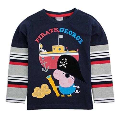Peppa Pig Cartoon Cotton Embroidery Long Sleeved Shirt Cartoon Boys Jumper,3Y front-31325