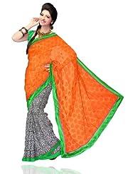 Unnati Silks Women Chanderi Sico Printed Orange Saree - B00K67DP9A
