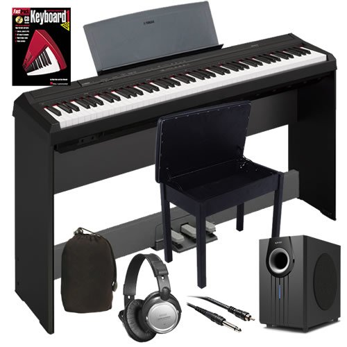 Yamaha P-105 Digital Piano Complete Bundle+ W/ Subwoofer, Stand, Bench