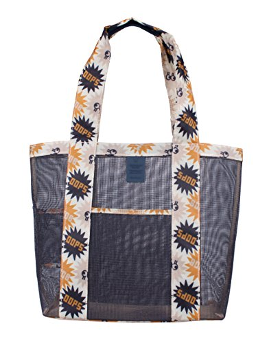 Beach bag by PGM sand away beach mesh tote bag shopping bag-large and special designs (Navy)