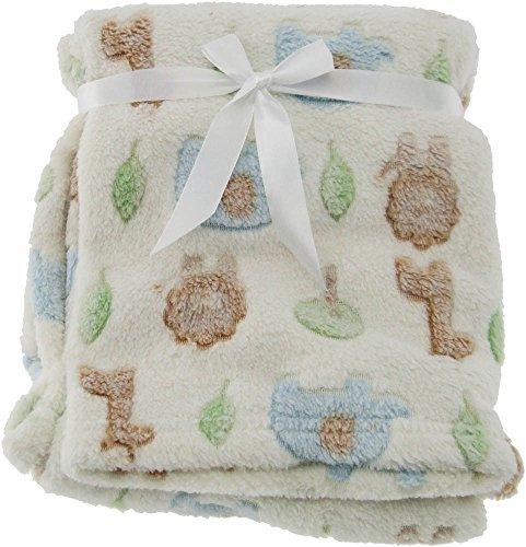 Babydecke Kuscheldecke Schlafdecke Schmusedecke Kinderdecke Decke Krabbel verschiedene Motive und 3 verschiedene Farben (Zoo Beige)