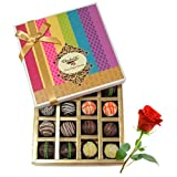 Signature Collection Of Truffles Gift Box With Red Rose - Chocholik Belgium Chocolates