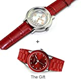 Royal Crown 3638 Women's Diamond Jewelry Watch Red Round Dial Leather with Gift