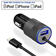 iPhone Car Charger, [Apple MFI Certified] Eleckey 4.8A Apple Car Charger + 3.3ft Apple MFi Certified…