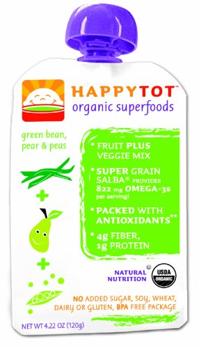 HAPPYBABY Happy Tot - Stage 4: Green Beans, Pears and Peas, 4.22  Ounce Pouch (Pack of 16)