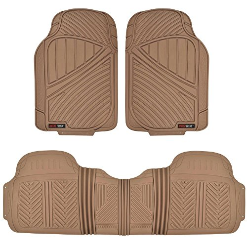 MotorTrend FlexTough Baseline - Heavy Duty Rubber Floor Mats, 100% Odorless & BPA Free (Beige) (Car Mats Brown compare prices)
