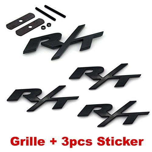 4pcs B182 Black RT R/T Grille + 3pcs Emblem Decal Badge Sticker Dodge Charger Ram 1500 Challenger Jeep Grand Cherokee (R T Emblems compare prices)