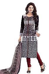 Shraddha Fashion Hub Printed Black Pure Cotton Dress Material