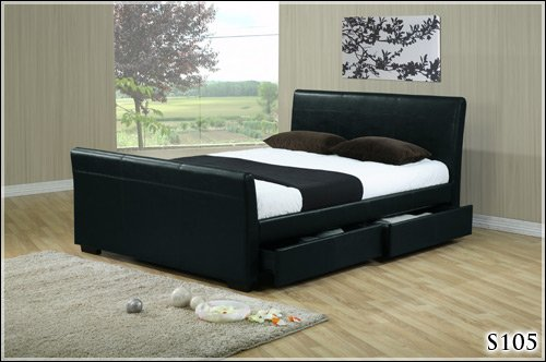 5FT Black Faux Leather with Drawers King Size Bed Frame