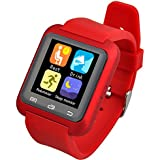 Wanway [Upgraded Version of U8] U80 Bluetooth 4.0 Smart Wrist Wrap Watch Phone for Smartphones IOS Android Apple iphone 5/5C/5S/6/6 Puls Android Samsung S3/S4/S5 Note 2/Note 3 Note 4 HTC Sony (Red)