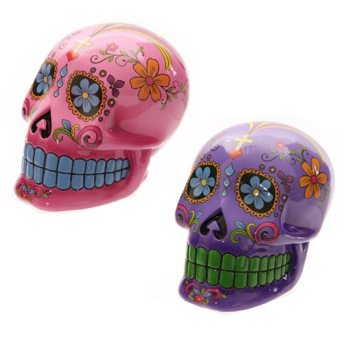 Lauren Billingham - 20 cm (Day of the Dead Skull Salvadanaio, colore: Rosa/Viola viola