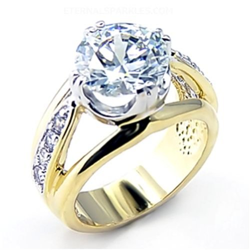 Jewelry - Clear CZ Gold Ring SZ 5