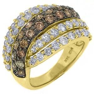 14k Yellow Gold 3 Carat Brilliant Round Champagne Diamond Ring