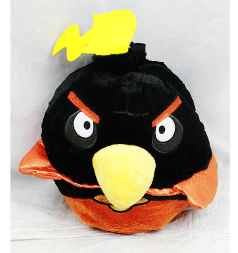 "Angry Birds SPACE - Black Bird 13"" Plush Back Pack, Licensed"