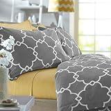 Pinzon 300-Thread-Count 100-Percent Cotton Lattice Duvet Cover Set, Full/Queen, Platinum