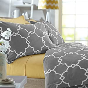 Pinzon 300-Thread-Count 100-Percent Cotton Lattice Duvet Cover Set, Full/Queen, Platinum