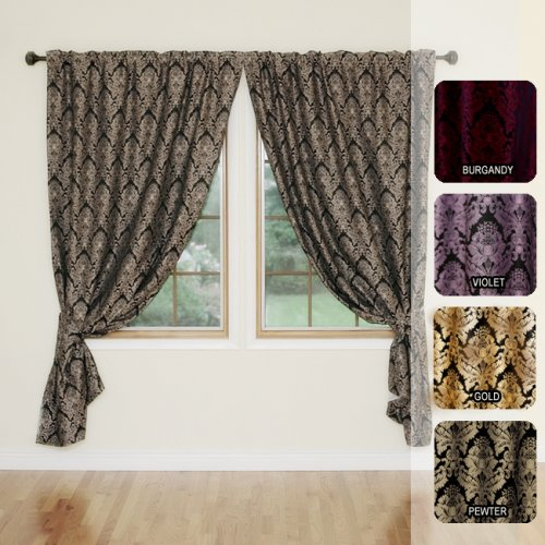 "DAMASK JaquaredInsulated Thermal Blackout Window Curtain84""L-PEWTER"