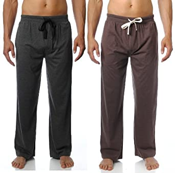 Mens 2-Pack Premium Knit Sleep/Lounge Pants - Charcoal/Brown - Medium