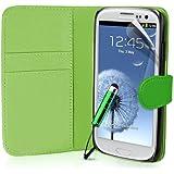 Supergets Hülle für Samsung Galaxy S3 Buch-Stil Imitat Ledertasche Hülle in Grün, Folie für S3, Eingabestift