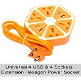 RiaTech® Power Extension Board With 4 USB & 4 Sockets