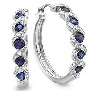 0.86 Carat (ctw) Sterling Silver Ladies Hoop Earrings from DazzlingRock