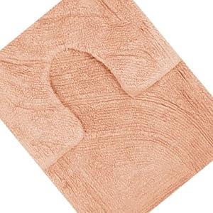 Linens limited 100 cotton bath mat pedestal mat set for Peach bathroom set