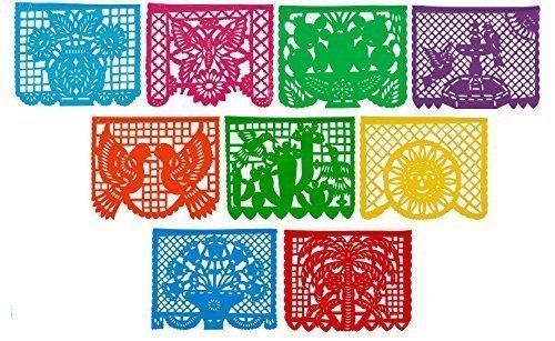 [CalMex Large PLASTIC Mexican Papel Picado Banner (15 Feet Long) Designs as Pictured] (Day Of The Dead Party Supplies)