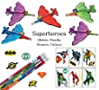 48 Pc Amazing Superhero Party Favor Pack (12 Superhero Gliders, 12 Superhero Sayings Pencils, 12 DC Comic Pencil Top Erasers, & 12 DC Comics Justice League Temporary Tattoo Sheets)
