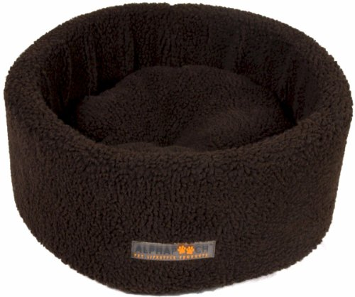 AlphaPooch Siesta Round Fleece Cat Bed, Coco, Medium