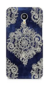 AMEZ Cream floral moroccan pattern on deep indigo Back Cover For Meizum 2 Note