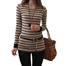 Chuangmei New Korea Womens Lady Blouse Striped Long Sleeve Casual T-Shirt Tops Apricot US 2(Asian Size M)