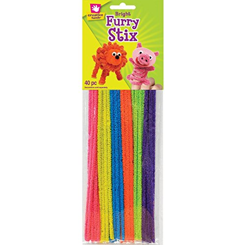 "Furry Stix Chenille Stems 12"" 40/Pkg-Bright"