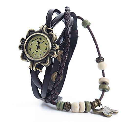 Dayan Butterfly Charm Women Ladies Weave Wrap Around Leather Belt Bracelet Watch Brown