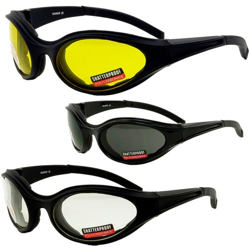 3 Pair Motorcycle Riding Glasses Smoke Clear Yellow foam padding on the entire inside of the glasses to fit snug to your face and protect against wind dust anhd sweat getting into your eyes.Also has comfortable rubber ear pads! Each pair comes with a Soft
