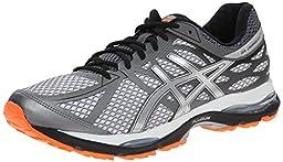 ASICS Men\'s Gel Cumulus 17 Running Shoe, White/Silver/Hot Orange, 9.5 M US